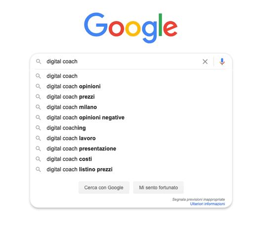 Funzione di completamento automatico di Google