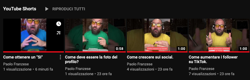 YouTube Shorts del canale Paolo Franzese su YouTube