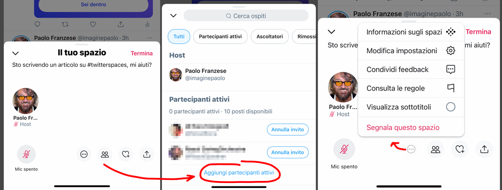 Come appare TwitterSpace