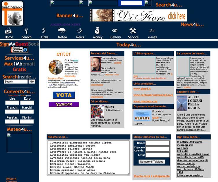 Il primo sito imaginepaolo su hosting gratuito, non esisteva la parola Blog