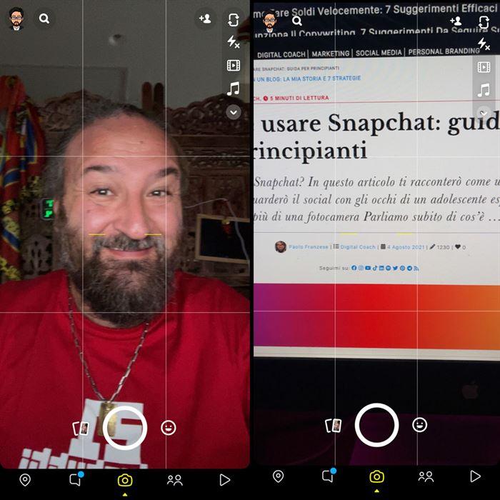 Come usare Snapchat, sezione fotocamera